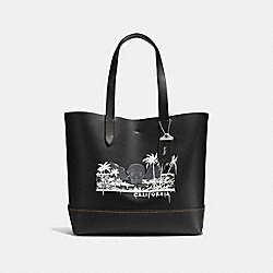 GOTHAM TOTE WITH WILD SURF PRINT - F58772 - BLACK/BURNT SIENNA