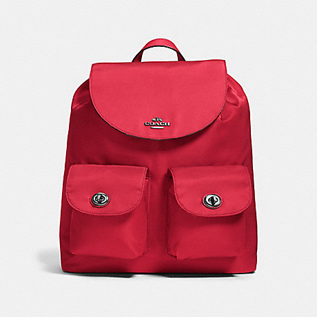 COACH f58814 NYLON BACKPACK ANTIQUE SILVER/TRUE RED