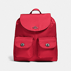 COACH F58814 - NYLON BACKPACK ANTIQUE SILVER/TRUE RED