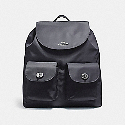 COACH F58814 - NYLON BACKPACK SILVER/BLACK