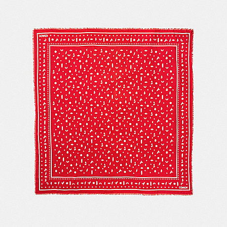 COACH F58837 MONOGRAM ICONS OVERSIZED SQUARE BANDANA DEEP CORAL