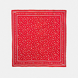 COACH F58837 - MONOGRAM ICONS OVERSIZED SQUARE BANDANA DEEP CORAL