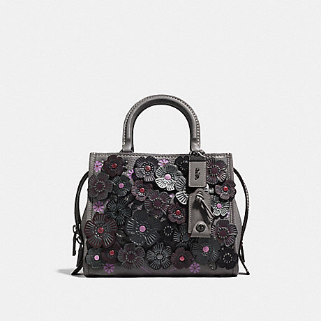 COACH F58840 ROGUE 25 WITH TEA ROSE HEATHER GREY/BLACK COPPER