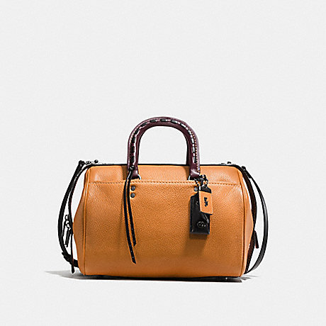 COACH F58841 ROGUE SATCHEL IN GLOVETANNED PEBBLE LEATHER WITH COLORBLOCK SNAKE DETAIL BLACK-COPPER/BUTTERSCOTCH