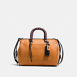 ROGUE SATCHEL IN GLOVETANNED PEBBLE LEATHER WITH COLORBLOCK SNAKE DETAIL - f58841 - BLACK COPPER/BUTTERSCOTCH