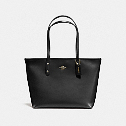 COACH F58846 City Zip Tote In Crossgrain Leather IMITATION GOLD/BLACK