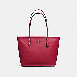 CITY ZIP TOTE - F58846 - CHERRY /LIGHT GOLD