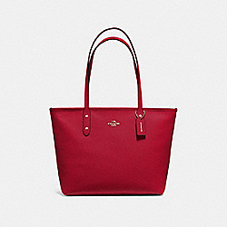 CITY ZIP TOTE - F58846 - TRUE RED/IMITATION GOLD