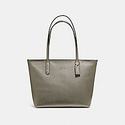 COACH F58846 City Zip Tote MILITARY GREEN/GOLD