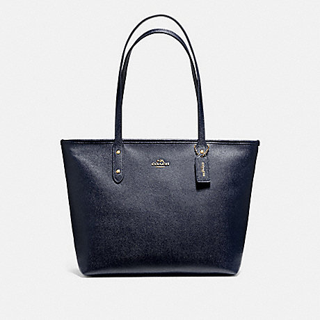 COACH F58846 CITY ZIP TOTE MIDNIGHT/LIGHT-GOLD
