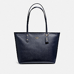 COACH F58846 City Zip Tote MIDNIGHT/LIGHT GOLD