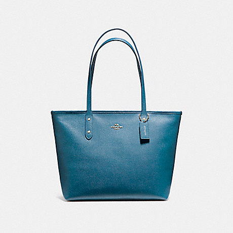 COACH f58846 CITY ZIP TOTE INK BLUE/LIGHT GOLD