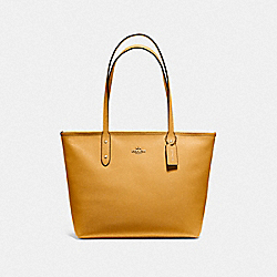 CITY ZIP TOTE - F58846 - MUSTARD YELLOW/GOLD