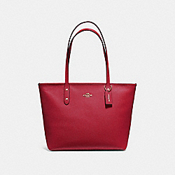 COACH F58846 - CITY ZIP TOTE RUBY/LIGHT GOLD
