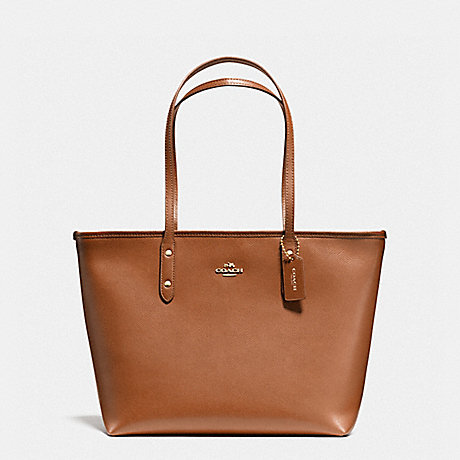 COACH f58846 CITY ZIP TOTE IN CROSSGRAIN LEATHER LIGHT GOLD/SADDLE