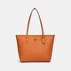 COACH F58846 City Zip Tote ORANGE/BLACK ANTIQUE NICKEL