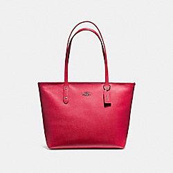 COACH F58846 City Zip Tote BLACK ANTIQUE NICKEL/POPPY