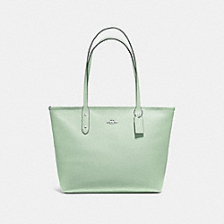 CITY ZIP TOTE - F58846 - PALE GREEN/SILVER