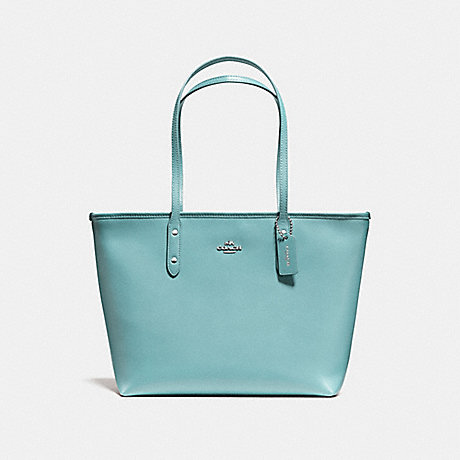 COACH f58846 CITY ZIP TOTE SILVER/AQUAMARINE