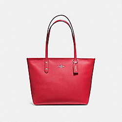 COACH F58846 City Zip Tote BRIGHT RED/SILVER