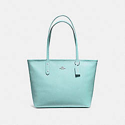 COACH F58846 City Zip Tote SILVER/SEA GREEN