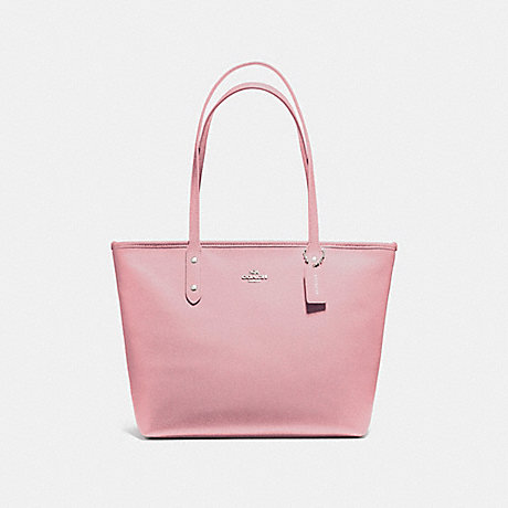 COACH f58846 CITY ZIP TOTE SILVER/BLUSH 2