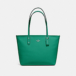 COACH F58846 - CITY ZIP TOTE GREEN/SILVER