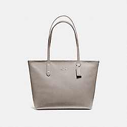 COACH CITY ZIP TOTE IN CROSSGRAIN LEATHER AND COATED CANVAS - SILVER/HEATHER GREY - F58846