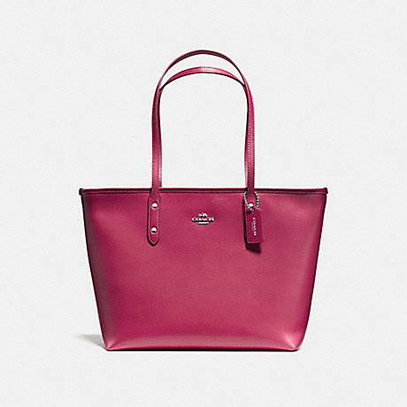 COACH f58846 CITY ZIP TOTE SILVER/HOT PINK