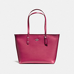 CITY ZIP TOTE - f58846 - SILVER/HOT PINK