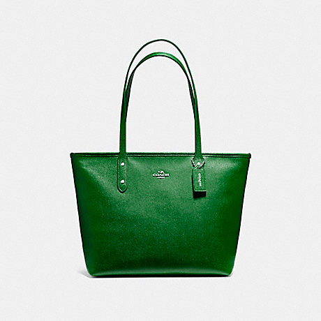 COACH f58846 CITY ZIP TOTE SILVER/KELLY GREEN