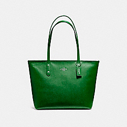 COACH F58846 - CITY ZIP TOTE SILVER/KELLY GREEN