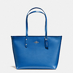 COACH F58846 City Zip Tote In Crossgrain Leather SILVER/LAPIS