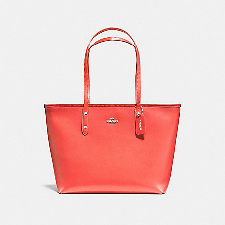COACH f58846 CITY ZIP TOTE SILVER/WATERMELON
