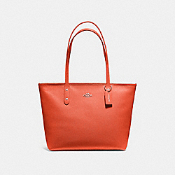 COACH F58846 City Zip Tote ORANGE RED/SILVER