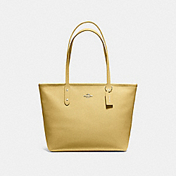 CITY ZIP TOTE - F58846 - LIGHT YELLOW/SILVER