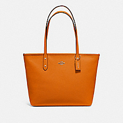 COACH F58846 - CITY ZIP TOTE DARK ORANGE/SILVER