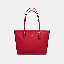 COACH F58846 City Zip Tote BRIGHT CARDINAL/SILVER