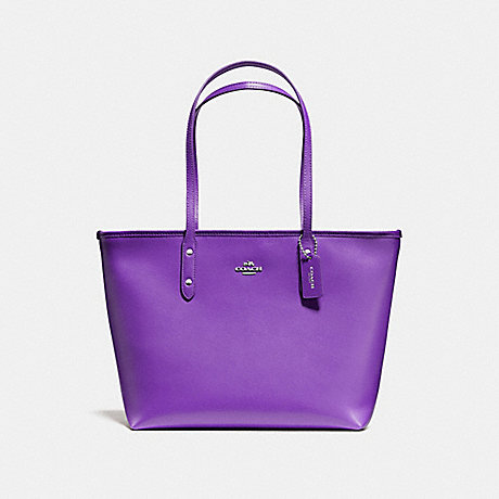 f570463fb9 COACH f58846 CITY ZIP TOTE IN CROSSGRAIN LEATHER AND COATED CANVAS SILVER  PURPLE