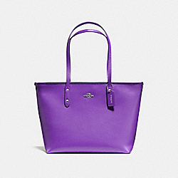 COACH CITY ZIP TOTE IN CROSSGRAIN LEATHER AND COATED CANVAS - SILVER/PURPLE - F58846