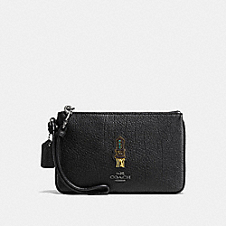 SMALL WRISTLET WITH SOUVENIR EMBROIDERY - F58856 - DK/BLACK