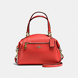 PRAIRIE SATCHEL IN POLISHED PEBBLE LEATHER - f58874 - LIGHT GOLD/DEEP CORAL