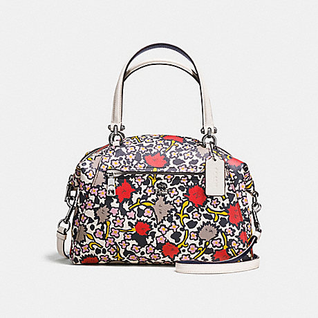 4968a7860982 COACH f58876 PRAIRIE SATCHEL IN POLISHED PEBBLE LEATHER WITH FLORAL PRINT  DARK GUNMETAL CHALK YANKEE