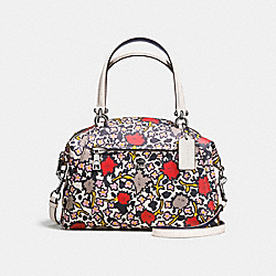 PRAIRIE SATCHEL IN POLISHED PEBBLE LEATHER WITH FLORAL PRINT - f58876 - DARK GUNMETAL/CHALK YANKEE FLORAL