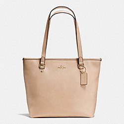 ZIP TOP TOTE IN CROSSGRAIN LEATHER - f58894 - IMITATION GOLD/BEECHWOOD