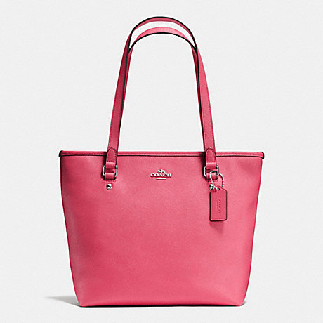COACH f58894 ZIP TOP TOTE IN CROSSGRAIN LEATHER SILVER/STRAWBERRY