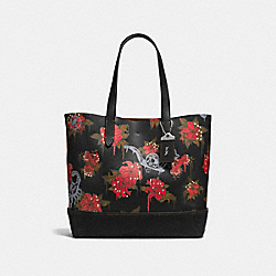 COACH F58907 Gotham Tote With Wild Lily Print BLACK/ CARDINAL POSION LILY