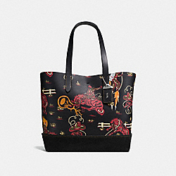 COACH F58914 Gotham Tote With Wild Western Print BLACK POISON LILY