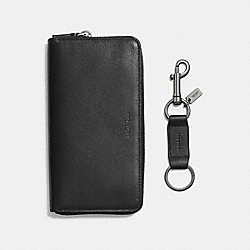 ACCORDION WALLET IN SPORT CALF LEATHER GIFT SET - f58928 - BLACK