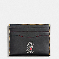 COACH F58934 Slim Card Case In Glove Calf Leather With Mickey BLACK